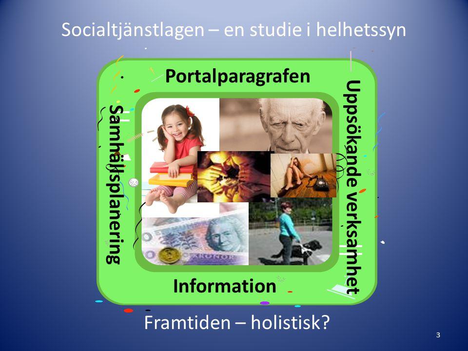 Socialtjänstlagen – en studie i helhetssyn 3 Portalparagrafen Uppsökande verksamhet Samhällsplanering Information Framtiden – holistisk