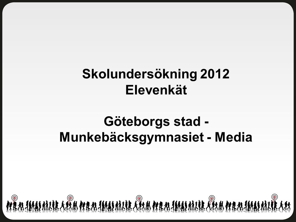 Delaktighet och inflytande Göteborgs stad - Munkebäcksgymnasiet - Media Antal svar: 45 av 88 elever Svarsfrekvens: 51 procent