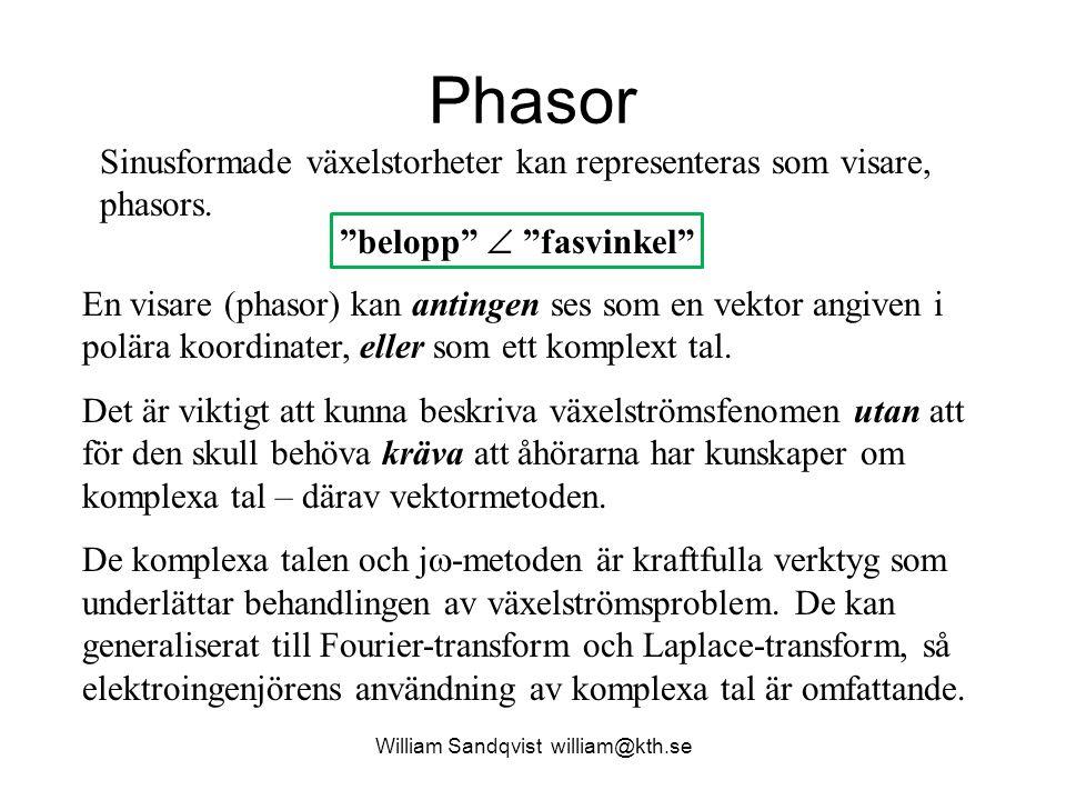 William Sandqvist william@kth.se Phasor En visare (phasor) kan antingen ses som en vektor angiven i polära koordinater, eller som ett komplext tal. De