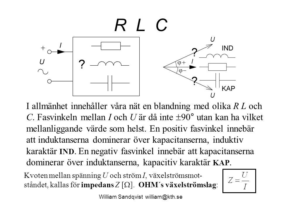 R L C I allmänhet innehåller våra nät en blandning med olika R L och C. Fasvinkeln mellan I och U är då inte  90° utan kan ha vilket mellanliggande v