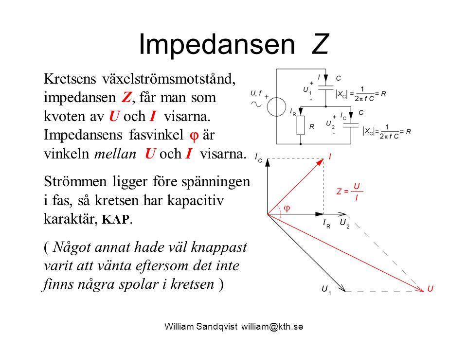 Impedansen Z Kretsens växelströmsmotstånd, impedansen Z, får man som kvoten av U och I visarna. Impedansens fasvinkel  är vinkeln mellan U och I visa