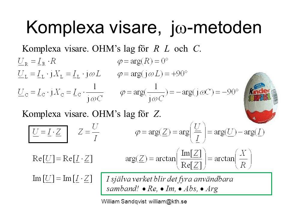 Komplexa visare, j  -metoden Komplexa visare. OHM's lag för R L och C. Komplexa visare. OHM's lag för Z. I själva verket blir det fyra användbara sam