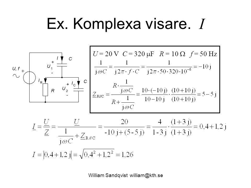 William Sandqvist william@kth.se Ex. Komplexa visare. I U = 20 V C = 320  F R = 10  f = 50 Hz