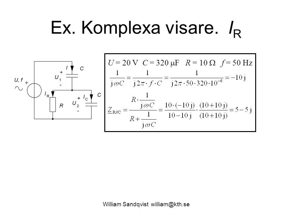 William Sandqvist william@kth.se Ex. Komplexa visare. I R U = 20 V C = 320  F R = 10  f = 50 Hz