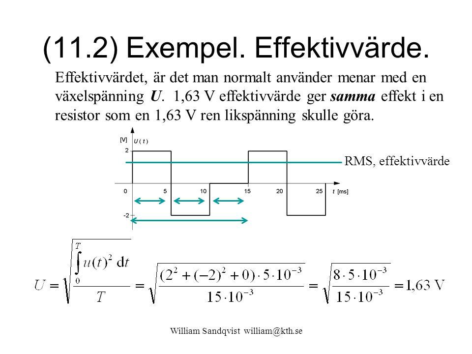 William Sandqvist william@kth.se (11.2) Exempel. Effektivvärde. Effektivvärdet, är det man normalt använder menar med en växelspänning U. 1,63 V effek