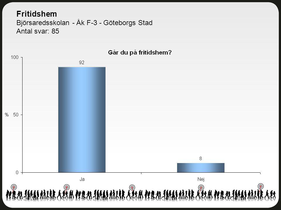 Fritidshem Björsaredsskolan - Åk F-3 - Göteborgs Stad Antal svar: 85