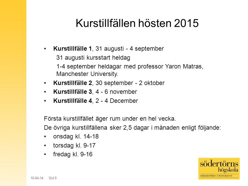 10-04-14 Sid 10 Genomförande Utbildningen äger rum på Södertörns högskola, om inte annat anges.