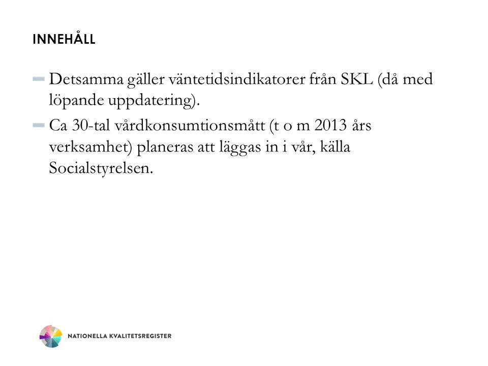 INNEHÅLL Detsamma gäller väntetidsindikatorer från SKL (då med löpande uppdatering). Ca 30-tal vårdkonsumtionsmått (t o m 2013 års verksamhet) planera