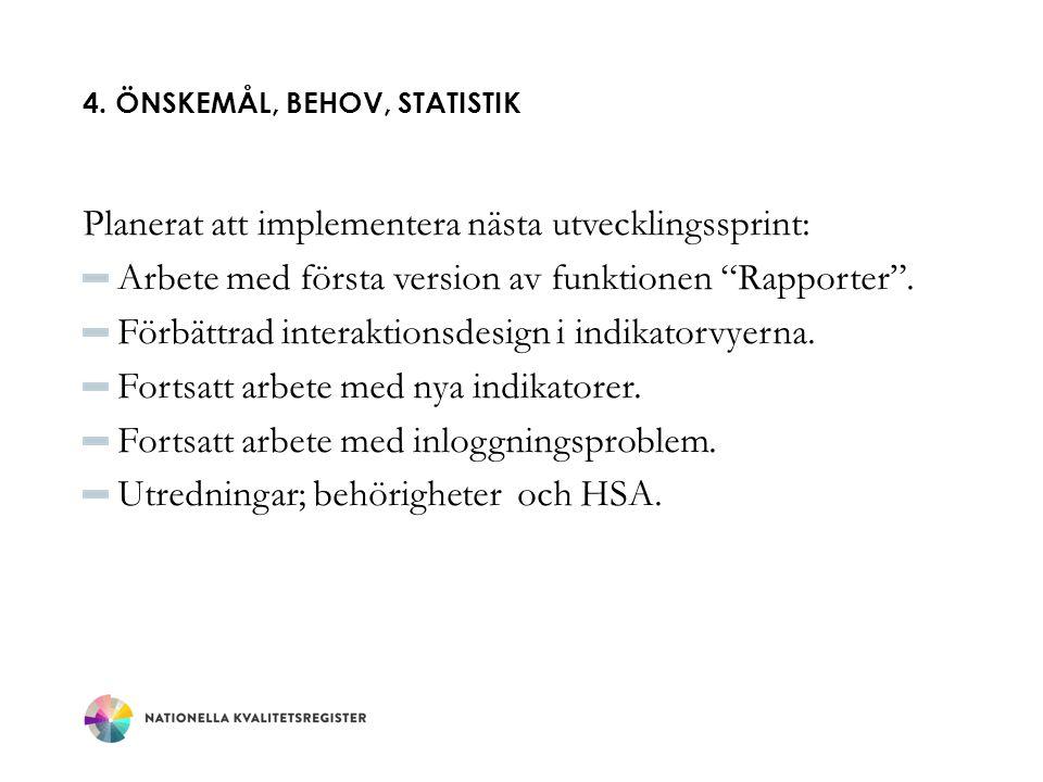 """4. ÖNSKEMÅL, BEHOV, STATISTIK Planerat att implementera nästa utvecklingssprint: Arbete med första version av funktionen """"Rapporter"""". Förbättrad inter"""