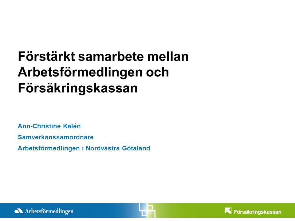 Presentationstitel Månad 200X Sida 1 Förstärkt samarbete mellan Arbetsförmedlingen och Försäkringskassan Ann-Christine Kalén Samverkanssamordnare Arbetsförmedlingen i Nordvästra Götaland