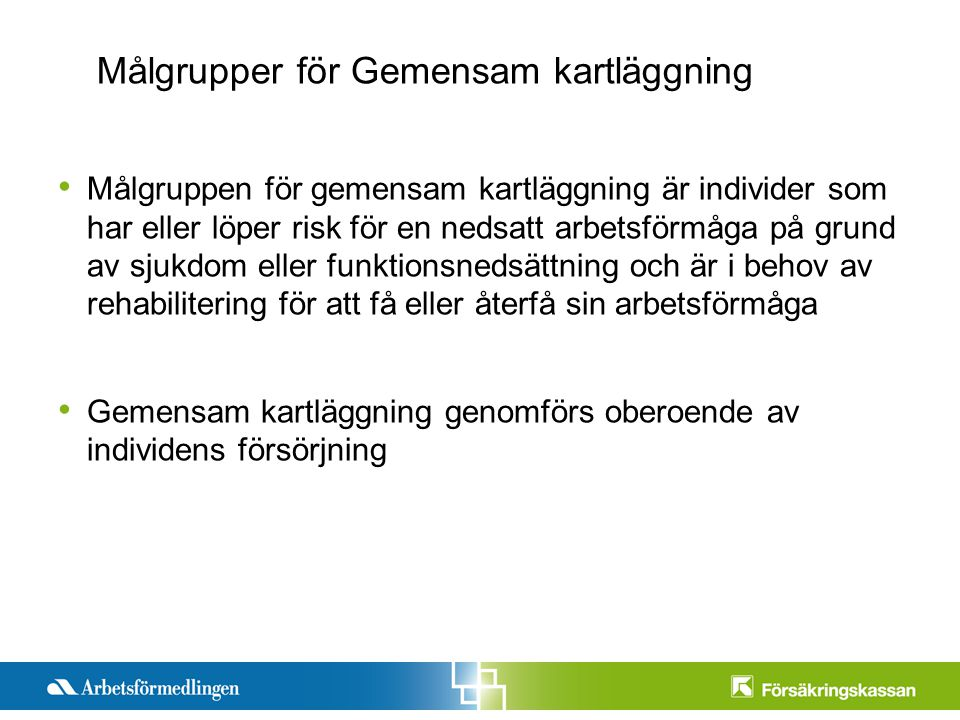Presentationstitel Månad 200X Sida 3 Målgruppen för gemensam kartläggning är individer som har eller löper risk för en nedsatt arbetsförmåga på grund