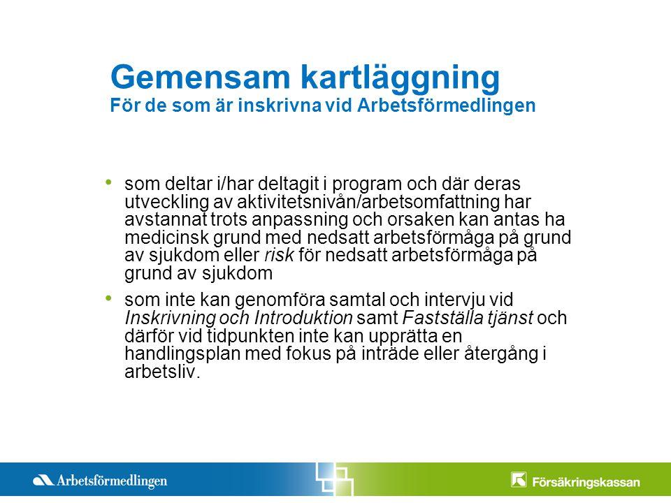 Presentationstitel Månad 200X Sida 7 Gemensam kartläggning För de som är inskrivna vid Arbetsförmedlingen som deltar i/har deltagit i program och där
