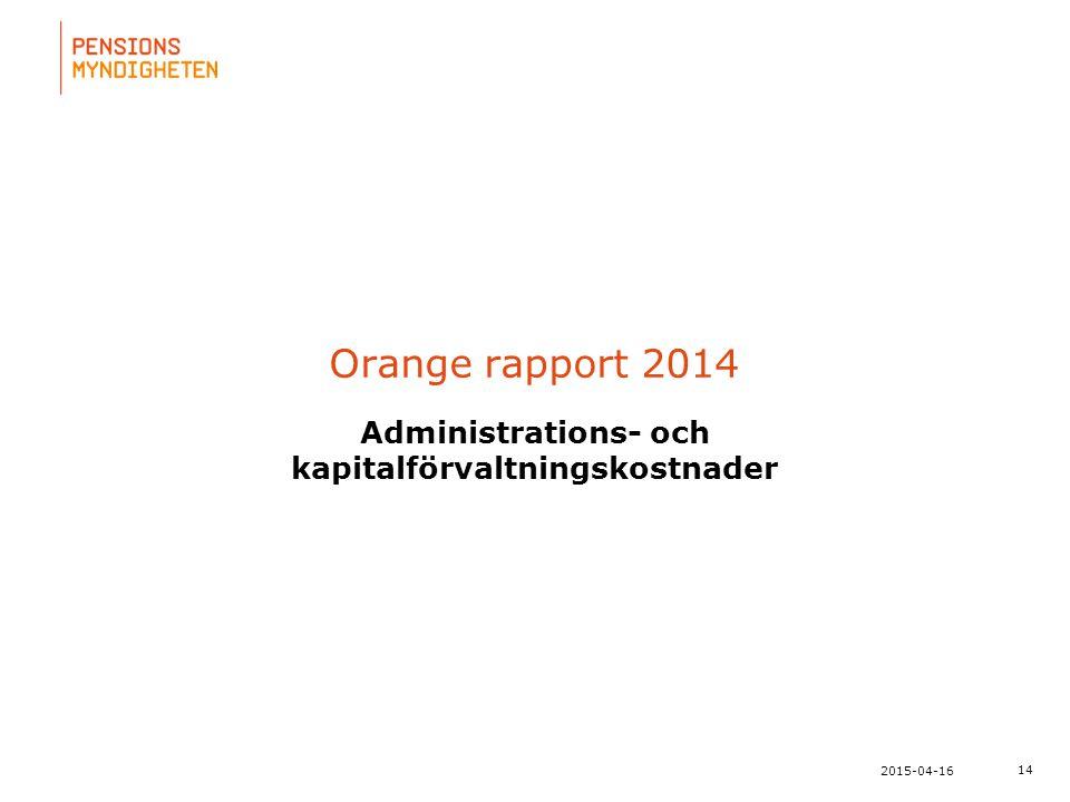 För att uppdatera sidfotstexten, gå till menyfliken: Infoga | Sidhuvud och sidfot. 14 2015-04-16 Orange rapport 2014 Administrations- och kapitalförva