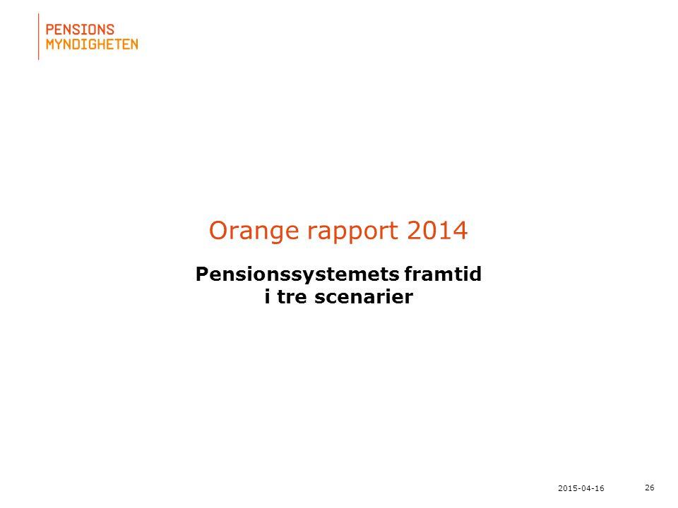 För att uppdatera sidfotstexten, gå till menyfliken: Infoga | Sidhuvud och sidfot. 26 2015-04-16 Orange rapport 2014 Pensionssystemets framtid i tre s