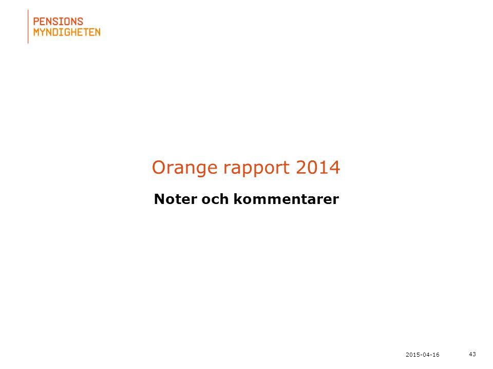 För att uppdatera sidfotstexten, gå till menyfliken: Infoga | Sidhuvud och sidfot. 43 2015-04-16 Orange rapport 2014 Noter och kommentarer