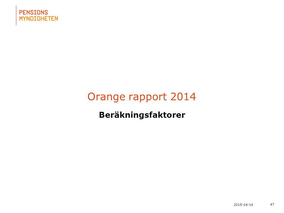 För att uppdatera sidfotstexten, gå till menyfliken: Infoga | Sidhuvud och sidfot. 47 2015-04-16 Orange rapport 2014 Beräkningsfaktorer