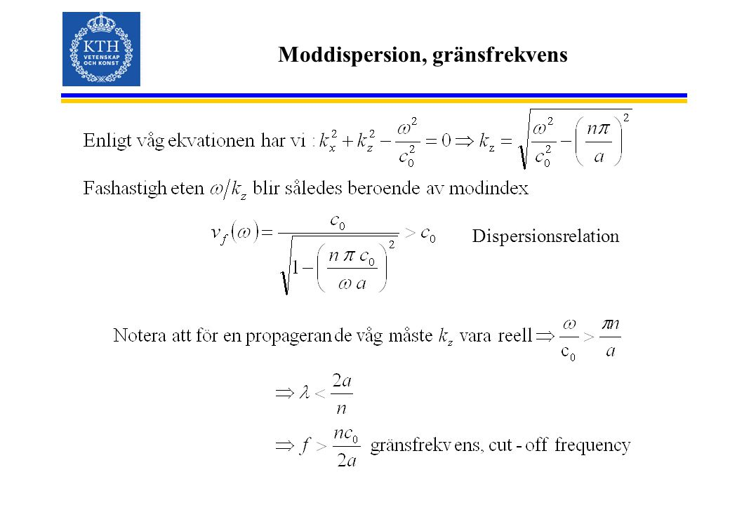 Moddispersion, gränsfrekvens Dispersionsrelation
