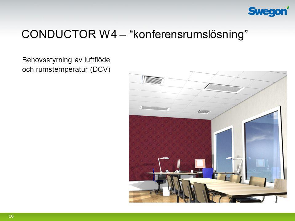 """10 CONDUCTOR W4 – """"konferensrumslösning"""" Behovsstyrning av luftflöde och rumstemperatur (DCV)"""