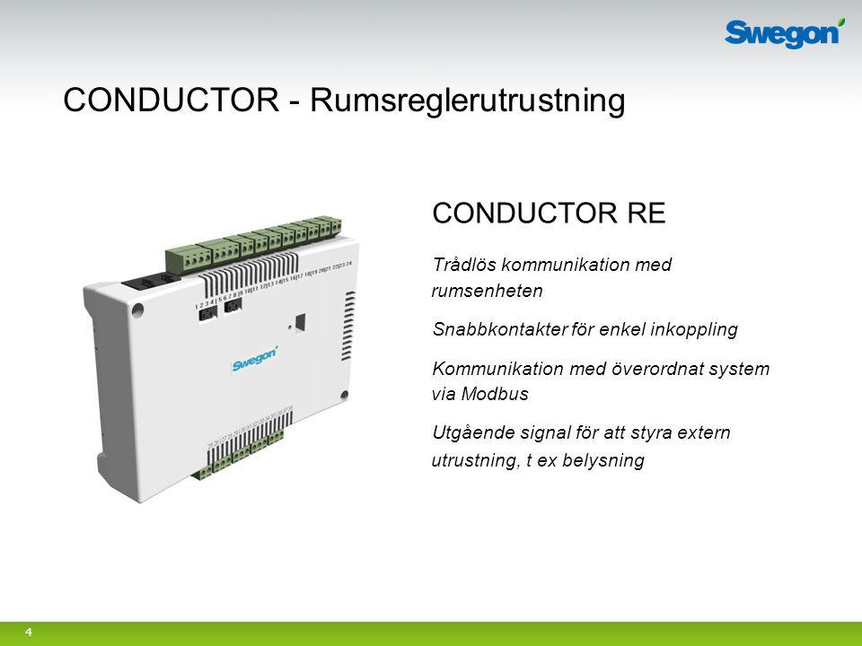 4 CONDUCTOR RE Trådlös kommunikation med rumsenheten Snabbkontakter för enkel inkoppling Kommunikation med överordnat system via Modbus Utgående signa