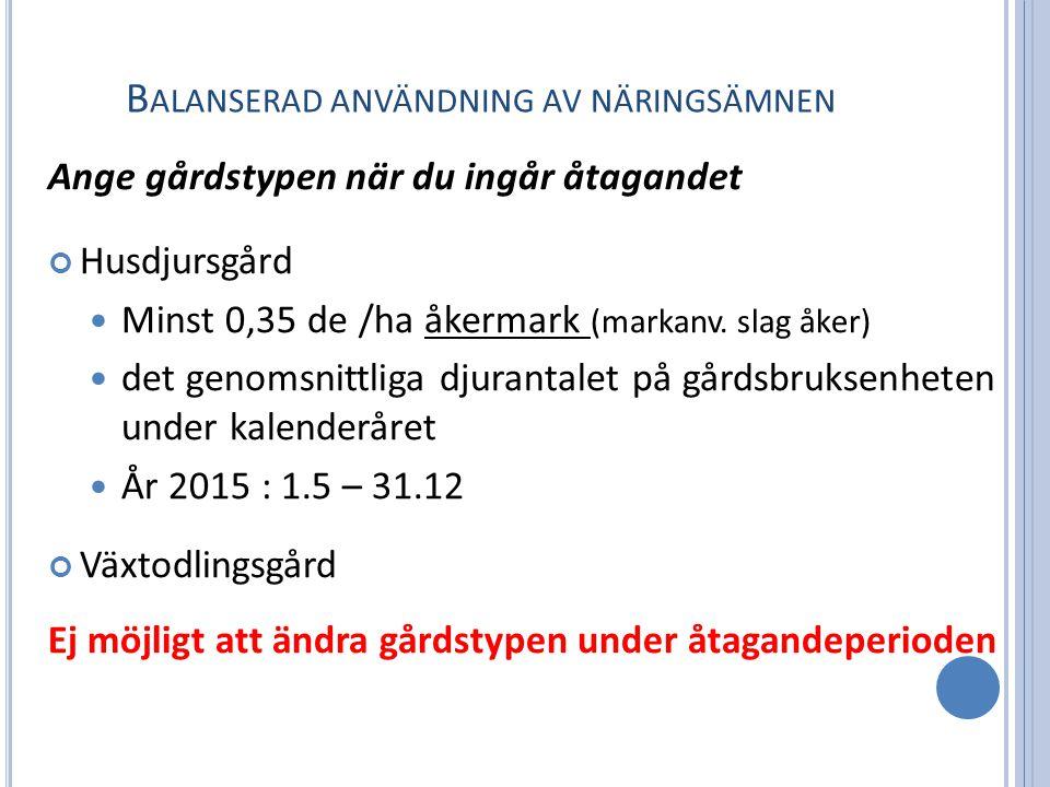 B ALANSERAD ANVÄNDNING AV NÄRINGSÄMNEN Ange gårdstypen när du ingår åtagandet Husdjursgård Minst 0,35 de /ha åkermark (markanv.