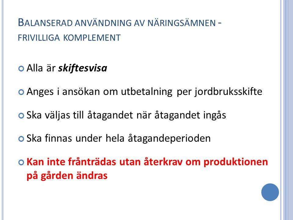 B ALANSERAD ANVÄNDNING AV NÄRINGSÄMNEN - FRIVILLIGA KOMPLEMENT Alla är skiftesvisa Anges i ansökan om utbetalning per jordbruksskifte Ska väljas till åtagandet när åtagandet ingås Ska finnas under hela åtagandeperioden Kan inte frånträdas utan återkrav om produktionen på gården ändras