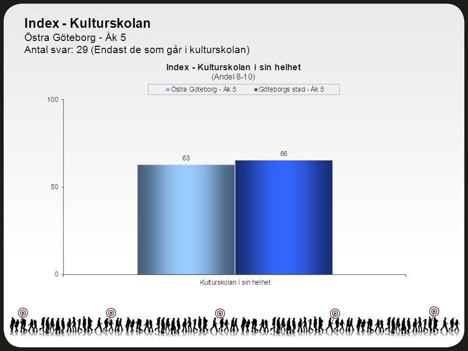 Index - Kulturskolan Östra Göteborg - Åk 5 Antal svar: 29 (Endast de som går i kulturskolan)
