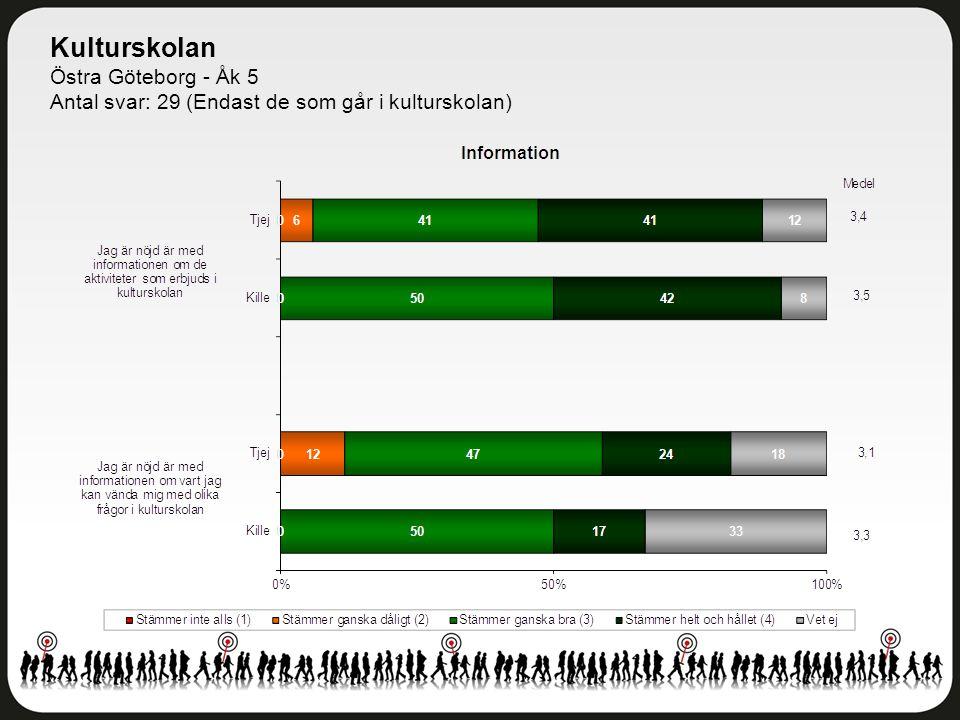 Kulturskolan Östra Göteborg - Åk 5 Antal svar: 29 (Endast de som går i kulturskolan)