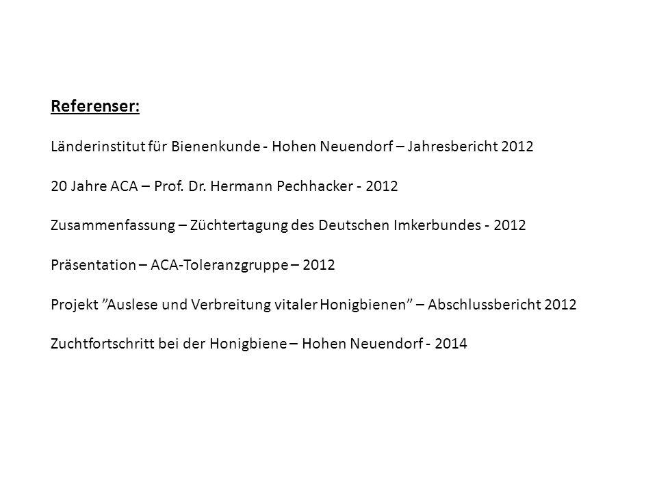Referenser: Länderinstitut für Bienenkunde - Hohen Neuendorf – Jahresbericht 2012 20 Jahre ACA – Prof. Dr. Hermann Pechhacker - 2012 Zusammenfassung –