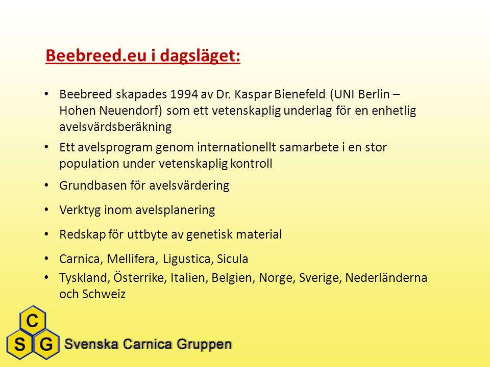 Beebreed.eu i dagsläget: Beebreed skapades 1994 av Dr. Kaspar Bienefeld (UNI Berlin – Hohen Neuendorf) som ett vetenskaplig underlag för en enhetlig a