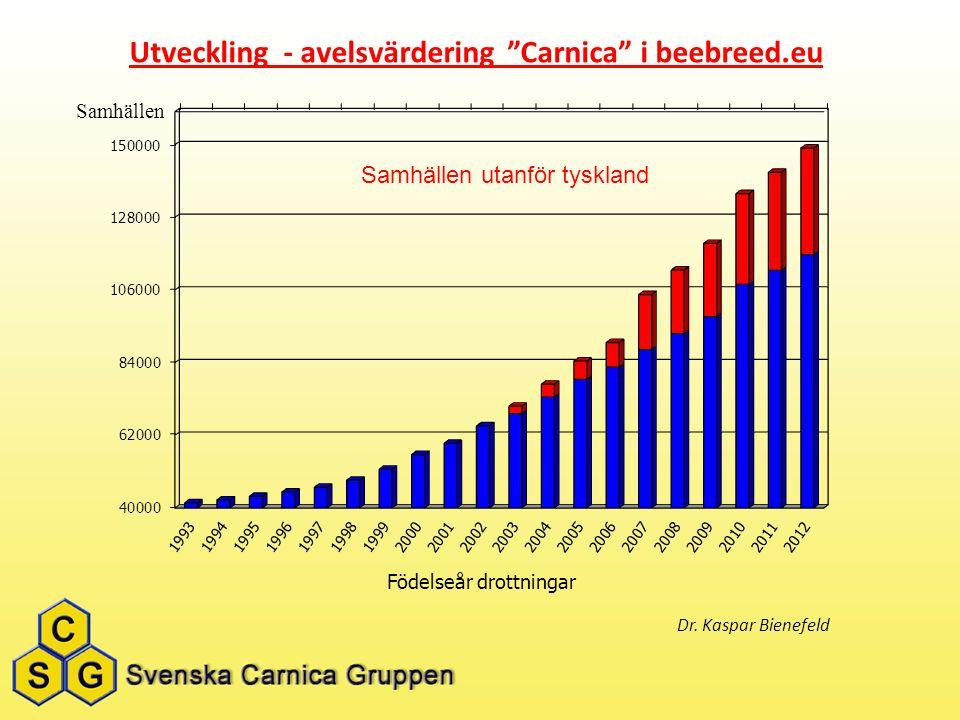 """Samhällen utanför tyskland Utveckling - avelsvärdering """"Carnica"""" i beebreed.eu Dr. Kaspar Bienefeld"""