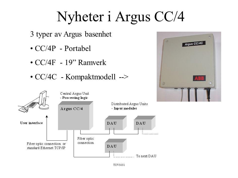 TUV3031 Nyheter i Argus CC/4 3 typer av Argus basenhet CC/4P - Portabel CC/4F - 19 Ramverk CC/4C - Kompaktmodell -->