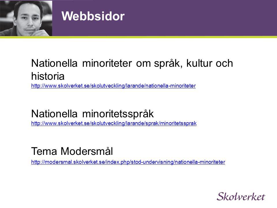 Webbsidor Nationella minoriteter om språk, kultur och historia http://www.skolverket.se/skolutveckling/larande/nationella-minoriteter http://www.skolverket.se/skolutveckling/larande/nationella-minoriteter Nationella minoritetsspråk http://www.skolverket.se/skolutveckling/larande/sprak/minoritetssprak http://www.skolverket.se/skolutveckling/larande/sprak/minoritetssprak Tema Modersmål http://modersmal.skolverket.se/index.php/stod-undervisning/nationella-minoriteter