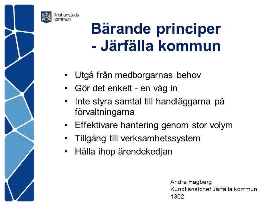 Bärande principer - Järfälla kommun Utgå från medborgarnas behov Gör det enkelt - en väg in Inte styra samtal till handläggarna på förvaltningarna Eff