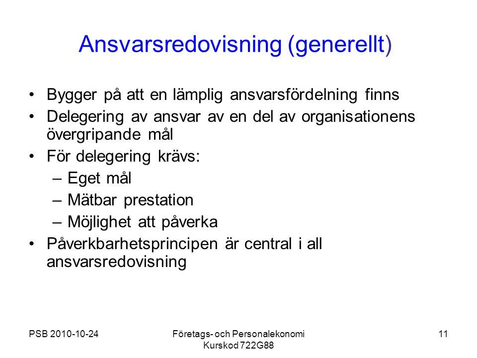 PSB 2010-10-24Företags- och Personalekonomi Kurskod 722G88 11 Ansvarsredovisning (generellt) Bygger på att en lämplig ansvarsfördelning finns Delegeri