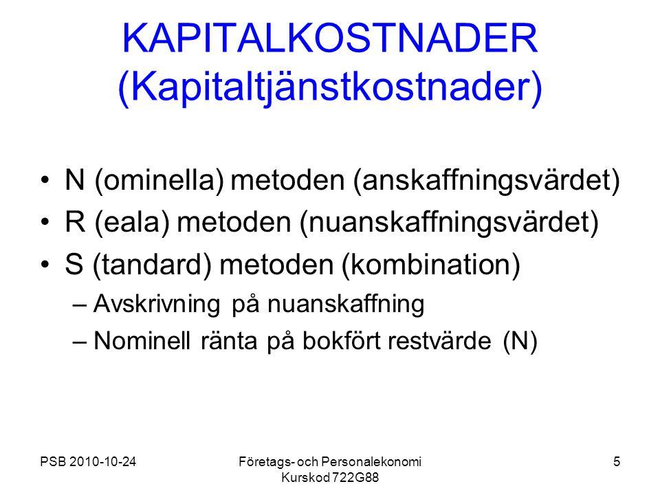 PSB 2010-10-24Företags- och Personalekonomi Kurskod 722G88 5 KAPITALKOSTNADER (Kapitaltjänstkostnader) N (ominella) metoden (anskaffningsvärdet) R (ea