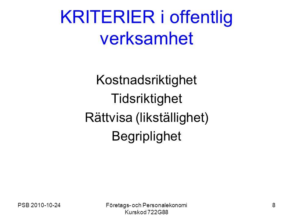PSB 2010-10-24Företags- och Personalekonomi Kurskod 722G88 8 KRITERIER i offentlig verksamhet Kostnadsriktighet Tidsriktighet Rättvisa (likställighet)