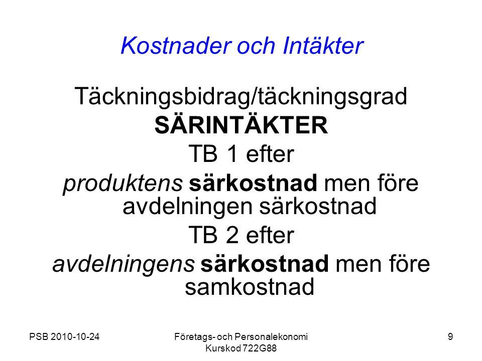 PSB 2010-10-24Företags- och Personalekonomi Kurskod 722G88 9 Kostnader och Intäkter Täckningsbidrag/täckningsgrad SÄRINTÄKTER TB 1 efter produktens sä
