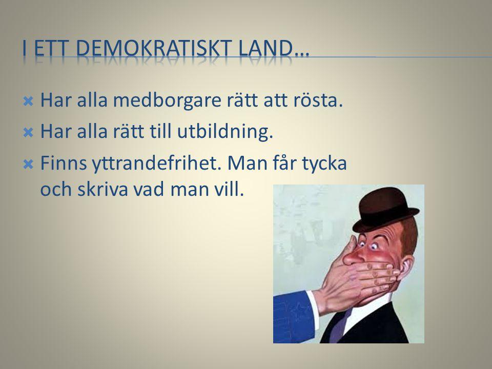  Har alla medborgare rätt att rösta.  Har alla rätt till utbildning.  Finns yttrandefrihet. Man får tycka och skriva vad man vill.