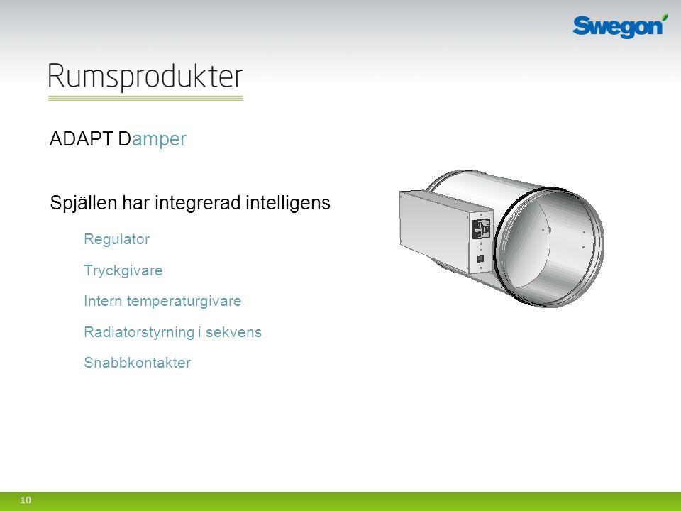 10 ADAPT Damper Spjällen har integrerad intelligens Regulator Tryckgivare Intern temperaturgivare Radiatorstyrning i sekvens Snabbkontakter