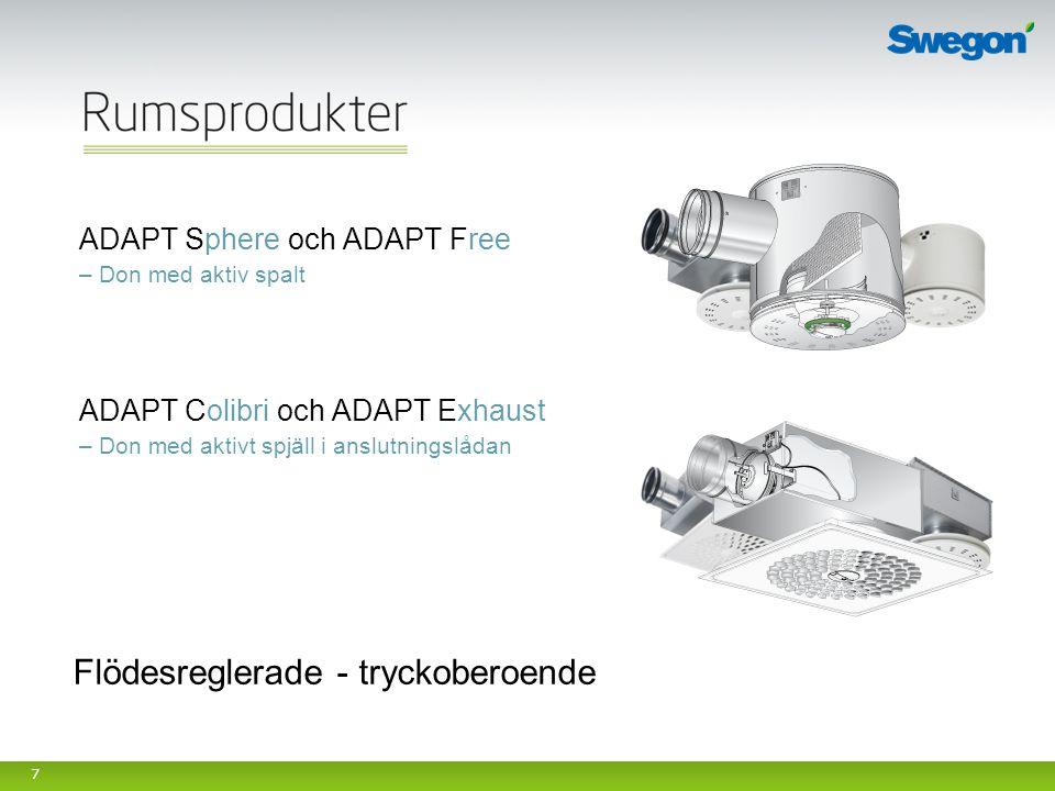 7 ADAPT Sphere och ADAPT Free – Don med aktiv spalt ADAPT Colibri och ADAPT Exhaust – Don med aktivt spjäll i anslutningslådan Flödesreglerade - tryck