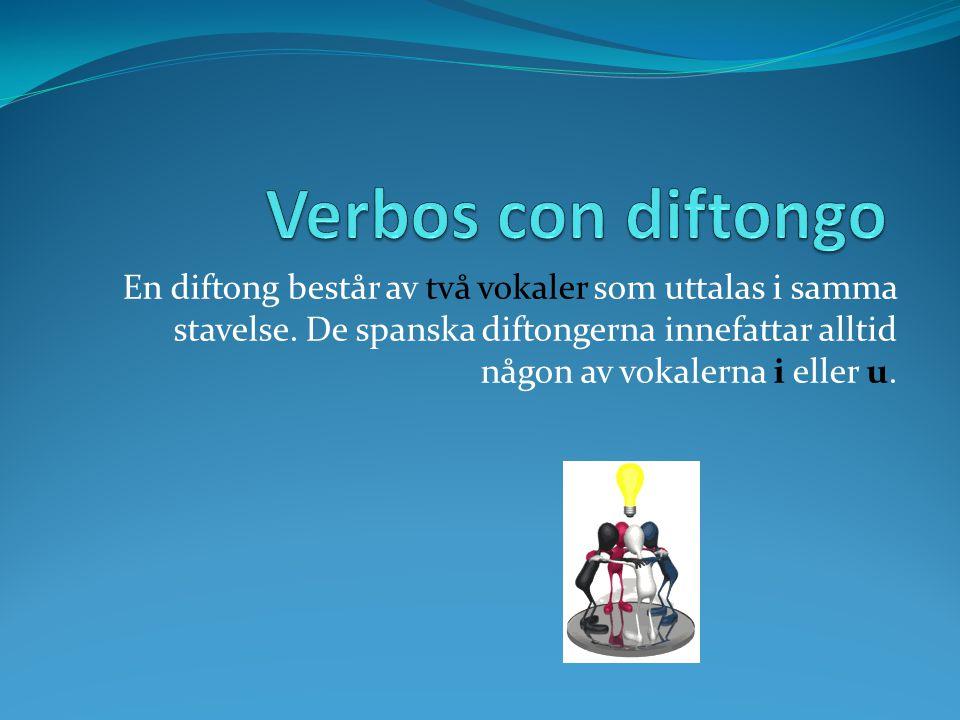 En diftong består av två vokaler som uttalas i samma stavelse.