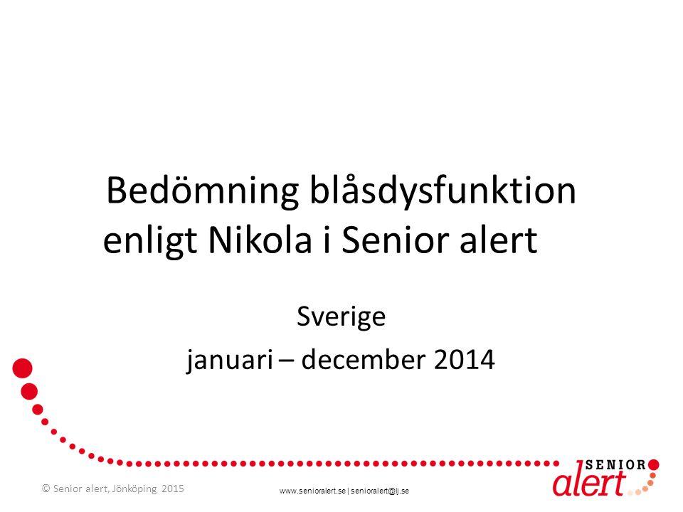 www.senioralert.se | senioralert@lj.se Bedömning blåsdysfunktion enligt Nikola i Senior alert Sverige januari – december 2014 © Senior alert, Jönköpin