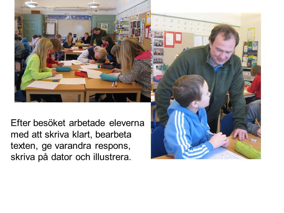 Efter besöket arbetade eleverna med att skriva klart, bearbeta texten, ge varandra respons, skriva på dator och illustrera.