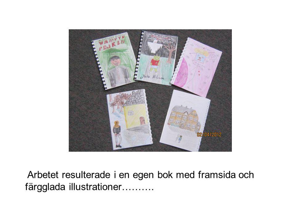 Arbetet resulterade i en egen bok med framsida och färgglada illustrationer……….
