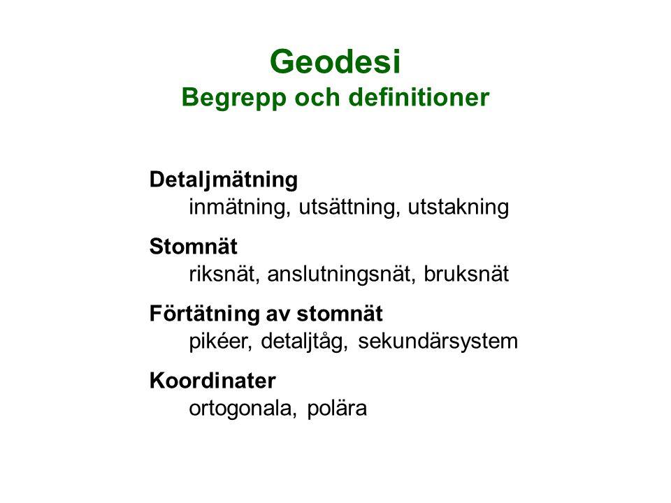 Geodesi Begrepp och definitioner Detaljmätning inmätning, utsättning, utstakning Stomnät riksnät, anslutningsnät, bruksnät Förtätning av stomnät pikéer, detaljtåg, sekundärsystem Koordinater ortogonala, polära