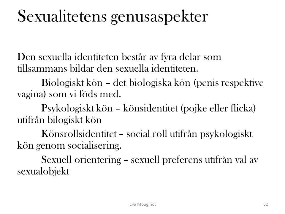 Sexualitetens genusaspekter Den sexuella identiteten består av fyra delar som tillsammans bildar den sexuella identiteten. Biologiskt kön – det biolog