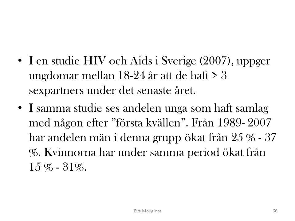 I en studie HIV och Aids i Sverige (2007), uppger ungdomar mellan 18-24 år att de haft > 3 sexpartners under det senaste året. I samma studie ses ande