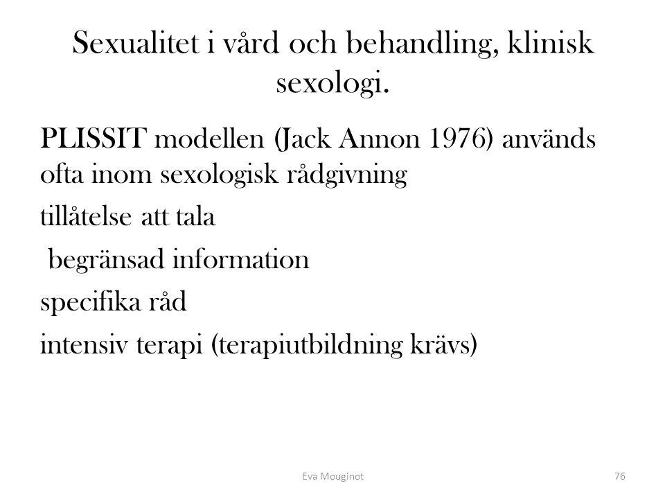 Sexualitet i vård och behandling, klinisk sexologi. PLISSIT modellen (Jack Annon 1976) används ofta inom sexologisk rådgivning tillåtelse att tala beg