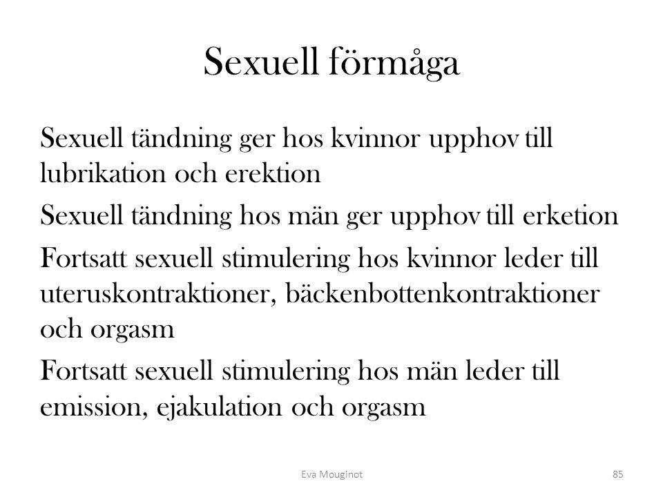 Sexuell förmåga Sexuell tändning ger hos kvinnor upphov till lubrikation och erektion Sexuell tändning hos män ger upphov till erketion Fortsatt sexue