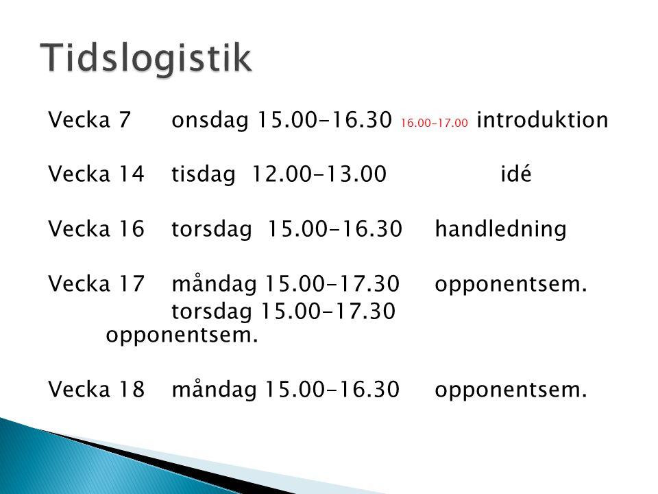 Vecka 7 onsdag 15.00-16.30 16.00-17.00 introduktion Vecka 14tisdag 12.00-13.00 idé Vecka 16torsdag 15.00-16.30handledning Vecka 17 måndag 15.00-17.30opponentsem.